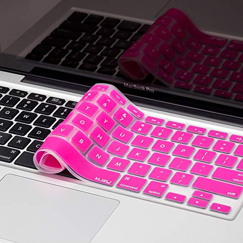 Kuzy Older Version Keyboard Cover Compatible with MacBook Pro 13 15 17 inch Release 2010-2015 and MacBook Air 13.3 inch Release 2010-2017 Silicone Skin Protector, Pink
