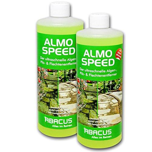 ABACUS ALMO Speed 2X 1000 ml Flechtenentferner Algenentferner Pilzentferner Grünbelagsentferner ohne Glyphosat Unkrautvernichter Denkmalreiniger Grabsteinpflege Algen Flechten Algenex
