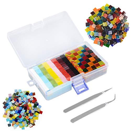 Mixed Color Mosaic Tiles, 450G/650PCS Stained Transparent Glass Mosaic Pieces with Organizer Box and Stainless Steel Tweezers for DIY Crafts Home Decoration, Square Shape, 1 by 1 cm
