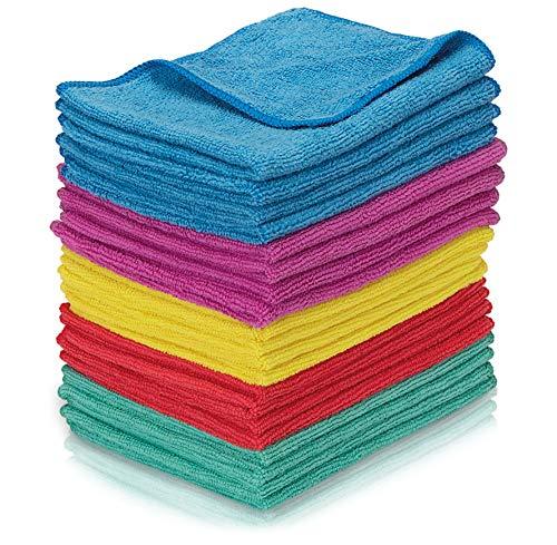 Nictario Mikrofasertücher [20er Set] - Angenehm weiche Reinigungstücher - 30x40cm Microfasertuch für Haushalt oder Autopflege - Mikrofaser Putztücher in 5 Farben - Allzwecktuch - Microfaser Lappen