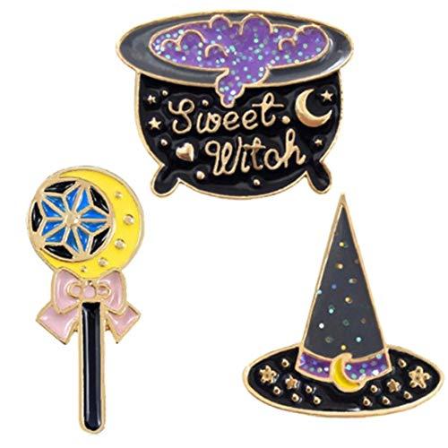 3 PC/Set-Emaille-Brosche Cartoon Abzeichen Brief Hexe Broschen Zaubertrank Pins Magischer Hut Zauberstab Halloween-Brosche-Beutel-Kleidung Dekorative