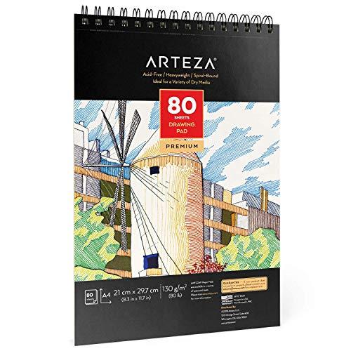 Arteza Blocco da Disegno A4 Professionale 21,0x29,7 cm, Confezione da 1 Album Da Disegno Spiralato da 80 Fogli 130g/m², Carta Bianca