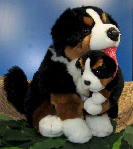 Hund Berner Sennhund mit Baby sitzend 36 cm