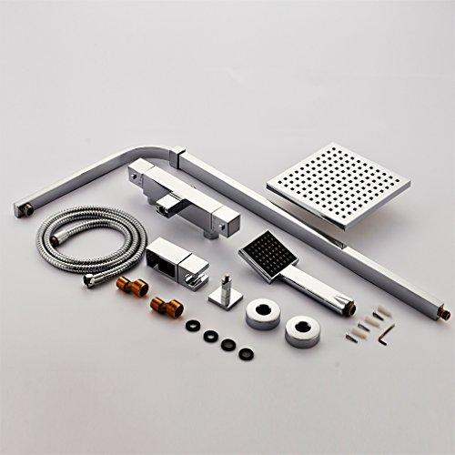 Auralum – Thermostat-Duscharmatur, Duschsystem mit Brausethermostat und Regendusche, Chrom - 6
