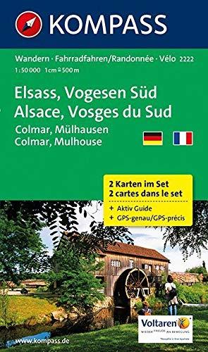 Elsass - Vogesen Süd - Alsace - Vosges du Sud - Colmar - Mülhausen - Mulhouse: Wanderkarten-Set mit Aktiv Guide. GPS-genau. 1:50000: 2-delige Wandelkaart 1:50 000 (KOMPASS-Wanderkarten, Band 2222)