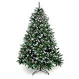 Yorbay - Árbol de Navidad Artificial Natural de Blanco Nevado, 180cm 930 Puntas Incluye Las Piñas y Soporte Metal, para Decoración Navideña Reutilizable