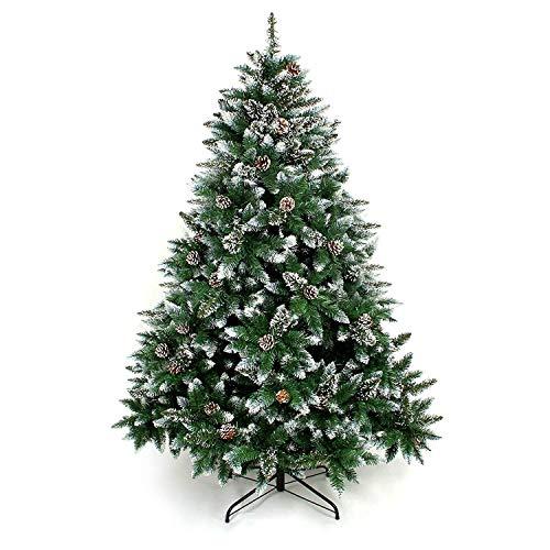Yorbay Albero di Natale, Pino Artificiale ricoperto da Neve e Decorato da pigne, Materiale PVC + PP + Ferro, Dimensione da 120cm a 240cm (180 cm) Riutilizzabile