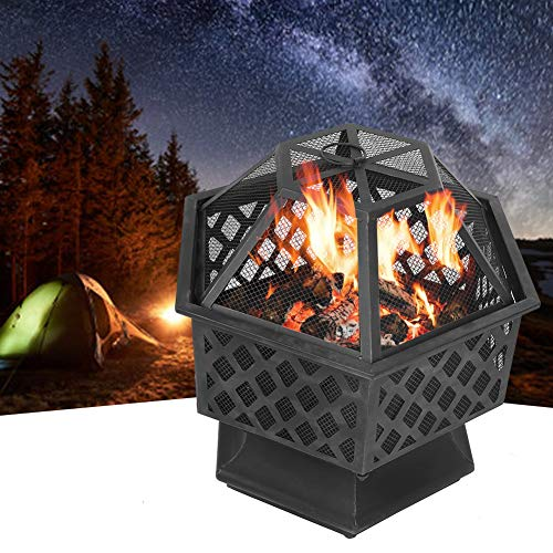 TOPINCN Fireplace Patio Backyard, Hex Shaped Fire Bowl Stove with Spark Screen Cover for Outdoor Outside Camping Patio Garden Backyard