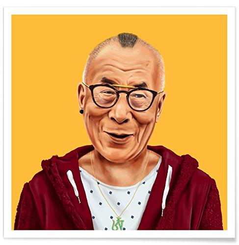 "JUNIQE® Pop Art Politische Figuren Poster 20x20cm - Design ""Dalai Lama"" entworfen von Amit Shimoni Illustration"