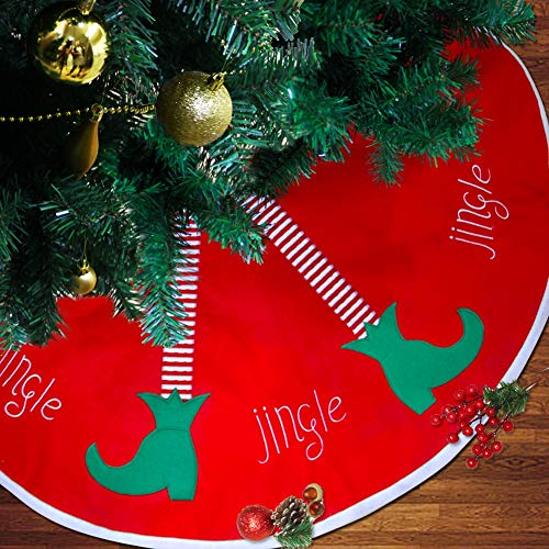 Brwoynn 48 inches Christmas Tree Skirt, Jingle Christmas Tree Decorations, Red Soft Double Layers Tree Skirt with White Rim