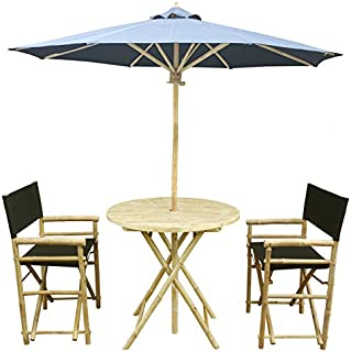 Zew 4-Piece Bamboo Outdoor Bistro Patio Set with Round Table, 2 Comfortable Canvas Chairs and Umbrella, Black