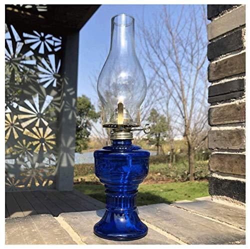 'N/A' Lámpara de huracán, lámpara de Queroseno Retro Country Home Cocina Sala de Estar decoración nostálgica lámpara de Aceite colección de Vidrio Regalo Alcohol lámpara Linterna(Color:Azul)