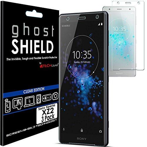 TECHGEAR [3 Pezzi Pellicola Protettiva Compatibile con Sony Xperia XZ2 [Edizione ghostSHIELD] Proteggi Schermo Rainforzata Flessibile TPU Pellicola per Schermo Intero Incluso Schermo Curvo