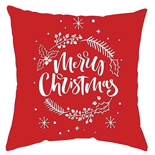 GTEXT - Funda de Almohada de Navidad, decoración navideña, Color Rojo, Funda de Almohada para sofá, decoración del hogar, Almohadas de Lino de 18 x 18 Pulgadas