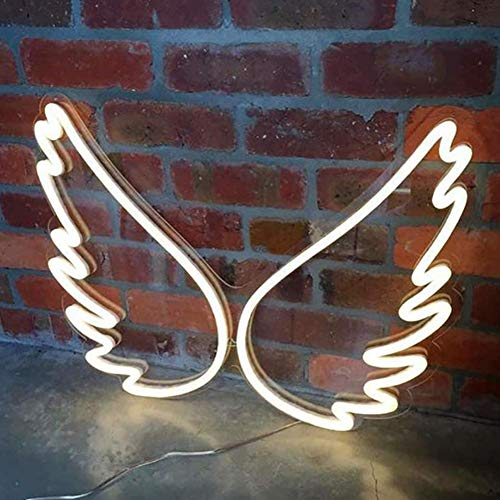 Dongbin 2 unids Blanco Mariposa ala LED de la Cuerda de neón, 4W LED Luces de neón Resistente al Agua - para Paredes, Ventana, Negocios, Bar, Hotel Ideal para Luces de Navidad, 45 cm * 34 cm * 1.4 cm