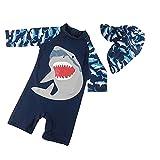 Ymgot ベビー 水着 男の子ラッシュガード サメ キッズ 水着 キャップ付き 2点セット S