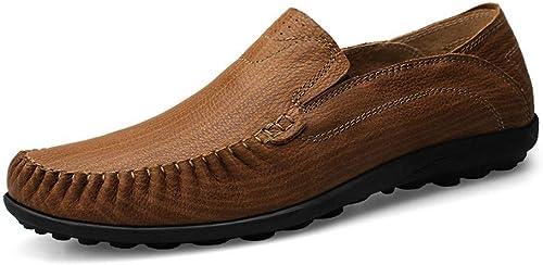QISTAR-MAN Antidérapant Conduite Conduite Mocassins pour Hommes Slip on Mocassins Bateau Chaussures en Cuir véritable été Main Couture Couture Couture Formelle Chaussures d'affaires Mocassins  meilleur service