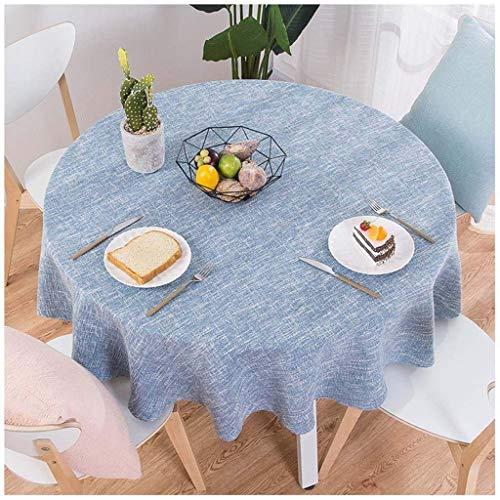XHNXHN Manteles Redondos para Mesa Circular, Mantel de Lino de algodón a Prueba de Polvo para Mesa de Buffet, Fiestas, Cena navideña (Azul Redondo de 2,180 cm)