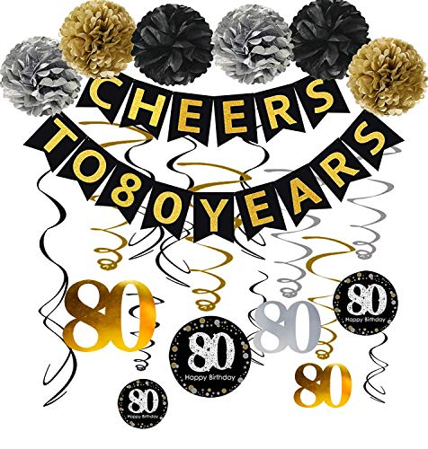 Cheers to 80 Years Party Decorations