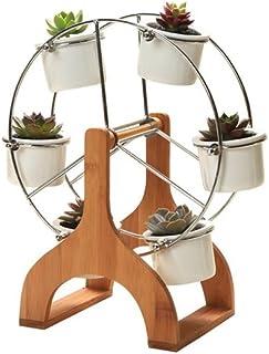 Yousun Ferris Wheel Design Flower Pot Stand Carrier Holder with Succulent Planter Set Flower Pot Holder Flower Pot Rack