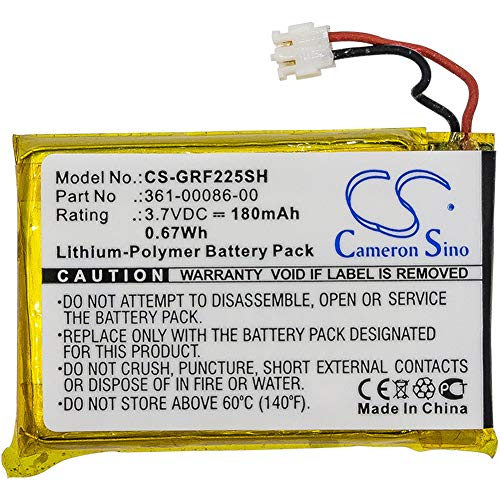 CS-GRF225SH Batería 180mAh Compatible con [Garmin] 010-01959-00, Approach G10, Forerunner 220, Forerunner 225, Forerunner 235, Forerunner 630, Forerunner 735XT, GRM0371754 sustituye 361-00072-10, par
