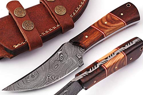 Grace Knives Handmade Damascus Steel Hunting Knife 8 Inches Fix Blade Knife with Leather Sheath G-038 (Wood and Olive)