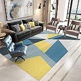 XBDD - Alfombra tradicional para salón (100 x 160 cm), diseño de triángulos arlequín, color amarillo y gris mostaza, 160 x 230 cm)