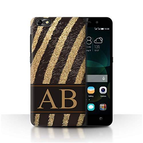 eSwish Personalisiert Individuell Mode Tierdruck Muster Hülle für Huawei G Play Mini/Gold Glitter Zebra Design/Initiale/Name/Text Schutzhülle/Case/Etui