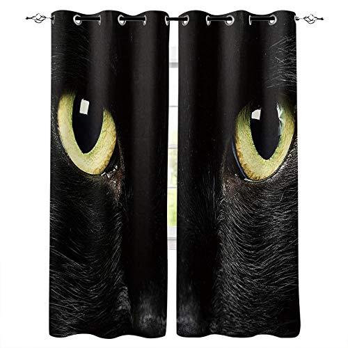 LWXBJX Cortinas Salon Cortinas Habitacion Niño Cortina Opaca - Negro animal gato ojos - Impresión 3D Aislantes de Frío y Calor 90% Opacas Cortinas - 234 x 230 cm - Salon Cocina Habitacion Niño Moderna