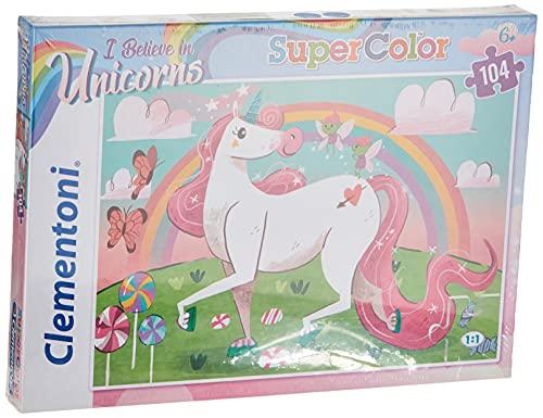 Clementoni-Clementoni-27109-Supercolor-Unicorno Brilliant-104 Puzzle 104 Piezas Unicornios, Multicolor (27109.2)