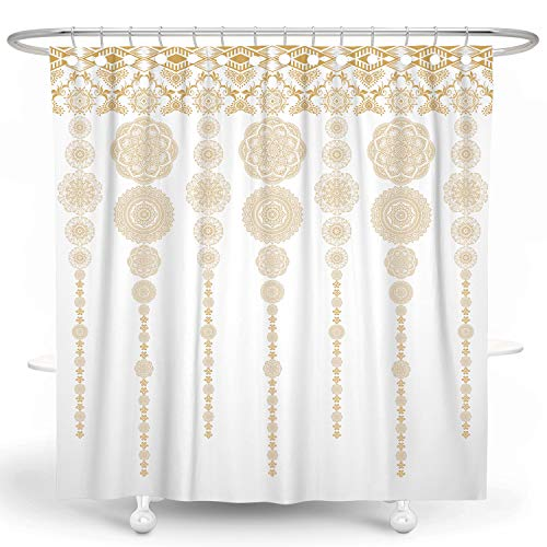 DESIHOM Gold Yellow Boho Shower Curtain Bohemian Theme Medallion Damask Shower Curtain Mandala Polyester Waterproof Shower Curtain 72X72 Inch