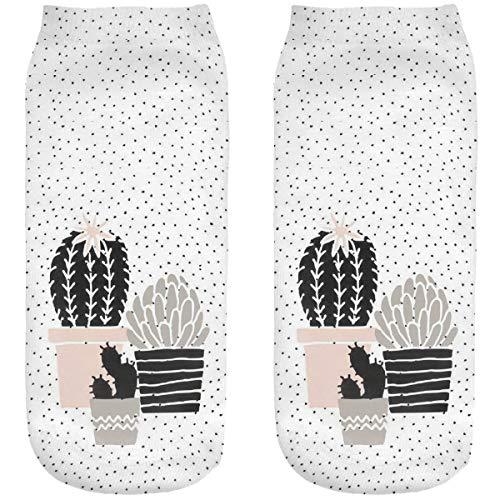 Ferocity Lustige Socken Sneaker Halbsocken Strümpfe Sportsocken Füßlinge mit Motiv 3D Kaktus [001]