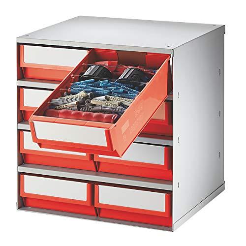Lockweiler Schubladenmagazin, Gehäuse-Traglast 75 kg - HxBxT 395 x 380 x 300 mm, 8 Schubladen - Schubladen rot