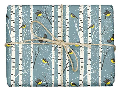 3x umweltfreundliches Öko-Geschenkpapier: Meisen   Einzelbögen, 50 x 70 cm, dabelino (Weihnachten, Winter, skandinavisch)