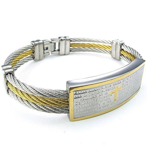 KONOV Schmuck Herren-Armband, Kreuz bitte Chrétienne Mesh Stahl-Armreif Edelstahl-Halskette Fantaisie Main- Farbe Gold Silber-inklusive Geschenk-F24498