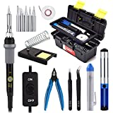 Soldering Iron Kit with On/Off Switch 60W 110V Adjustable Temperature Welding Soldering Iron, 5pcs Tips, Solder Sucker, Solder Wire, Tweezers, Desoldering Wick, Iron Stand and Sponge with Tool Case