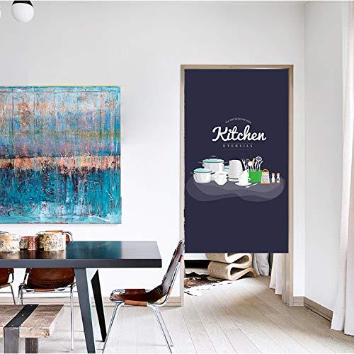 JH&MM Half-Height-Tür-Vorhang Trennwand windundurchlässiges Küche Restaurant Fume-Proof Baumwolle und Leinen Gardinen,Monolithic,65 * 90