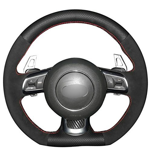 MEWANT DIY Black Genuine Leather Black Suede Car Steering Wheel Cover for Audi R8 2008-2010 / TT 2008-2015 / TTS 2009-2015 / TT RS 2012-2013 (with Shift Paddle)