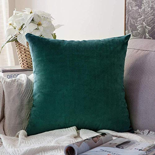 MIULEE Housse de Coussin Velours Scandinave pour Canapé Salon/Taie d'oreiller Décoratif pour Chambre 45x45cm Vert Turquoise 1 Pièce
