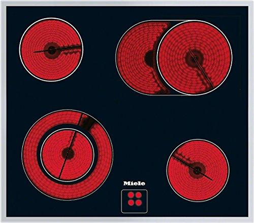 Miele KM 6013 Elektrokochfeld / herdgesteuert / 4 Kochzonen inkl. 1 Bräter-Zone und 1 Vario-Zone / 574 mm breit / umlaufender Edelstahlrahmen / Glaskeramik