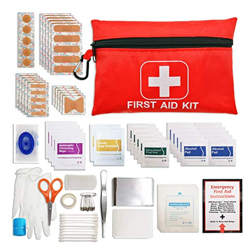 Mini First Aid Kit, Equipped 105 Pieces Basic Emergency Supplier Bag for Car, Home, School, Office, Sports, Traveling, Hiking, Camping, Exploring, Backpacking, Hunting