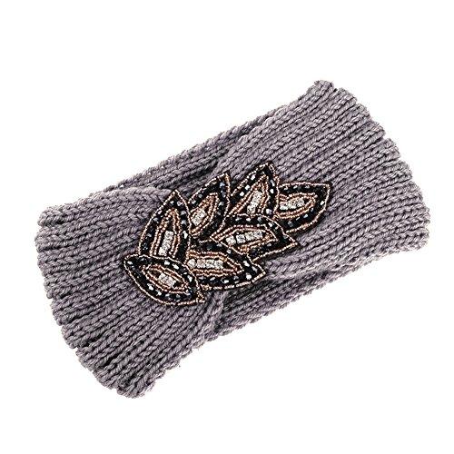 TININNA Serre-tête Bandeau Bande de Cheveux Laine Tricoté Turban Elastique Couvre-Oreille Head Wrap Chapeaux pour Femme Fille - Gris - Taille unique