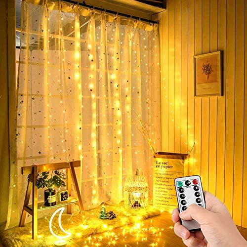 Luci per Tende, 3m*3m Tenda Luminosa con 8 Modalità 300 LED IP67 Impermeabile Luci scintillanti decorazioni interne ed esterne per Natale,Matrimonio,Camera da letto,Giardino (Bianco Caldo)