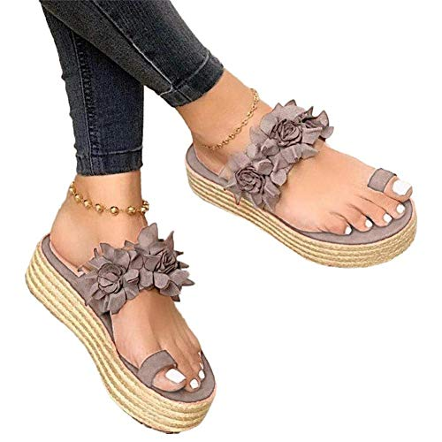 Window-pick Women Flower Slip-On Platform Sandals, Bunion Sandals Orthopedic Wedge Flip Flops Daily Slippers Lady's Summer Beach Casual Shoes Toe Ring Comfort Non-Slip Best-Walking Sandals