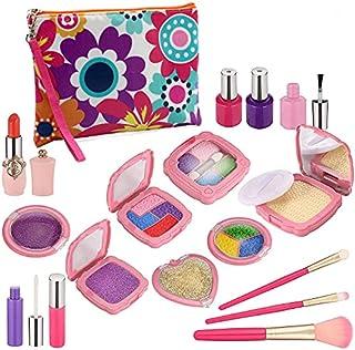 Fansbe Pretend Makeup for Girls, Kids Makeup Toy 19PCS Fake Dress Up Kit Include Pink Princess Purse for Little Girls Birt...