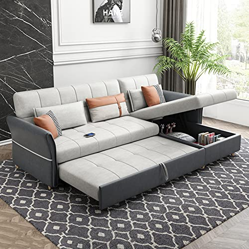 Luxury Sleeper Sofa Bed, Upgraded USB Charging 3-Seat Corner Pull-Out Futon Couch, Foldable Living Room Multifunctional Storage Pull-Out Sofa, Backrest 3 Levels To Adjust The Comfortable Angle,2.6M