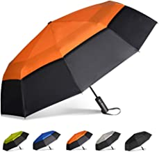 Brainstorming Compact Travel Umbrella -Windproof Double Canopy Construction, Automatic Open Strong Oversized Rain Umbrellas(Black &Orange)