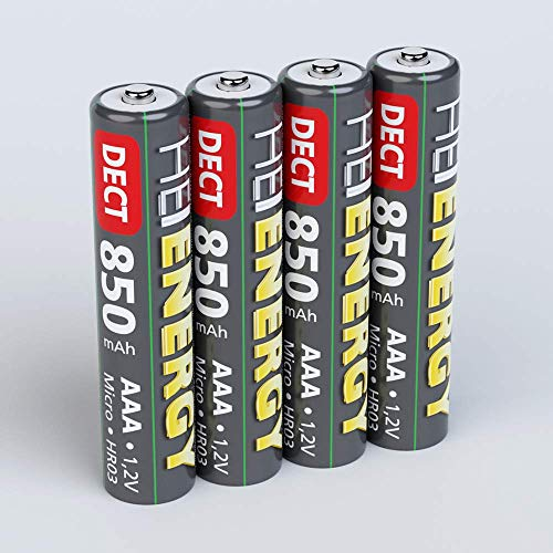 HEITECH AAA Akku Micro 850 mAh 1,2V NiMH - 4× Wiederaufladbare Batterien DECT für Schnurlostelefon mit geringer Selbstentladung - Akkus für Geräte mit hohem Stromverbrauch