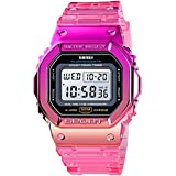 Gradient Color Silicone Plating Digital Electronic Waterproof Sports Wristwatches Casual Watch Student Watches (Plating- Rose Red)