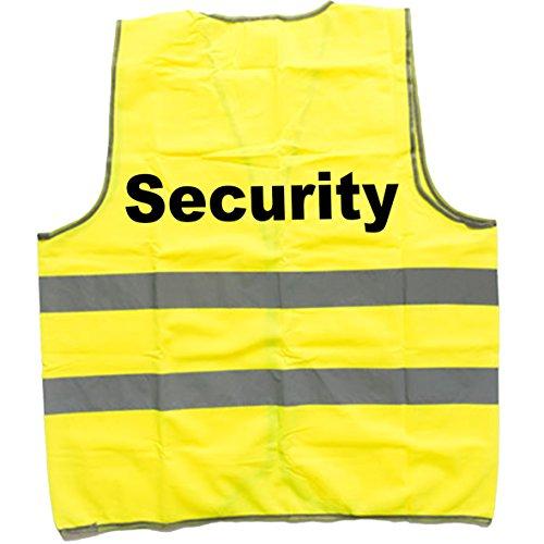 """SHIRT-TO-GO neongelbe, reflektierende Warnweste Unfallweste für Rettungskräfte und freiwillige Feuerwehr mit Aufdruck """"Security"""""""